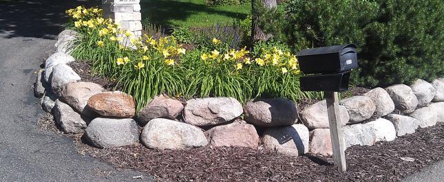Boulder Wall Garden Landscape Green Scene Minnesota